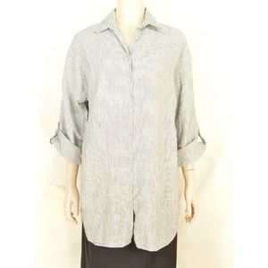 Chico's top tunic SZ 1 SM 100% linen pockets gray